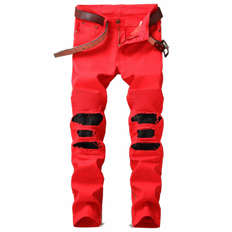 195f8103b7e Mens Hi Street Ripped Biker Jeans Pants With Ankle Zipper Straight Stretch Red  Motorcycle Denim Trousers