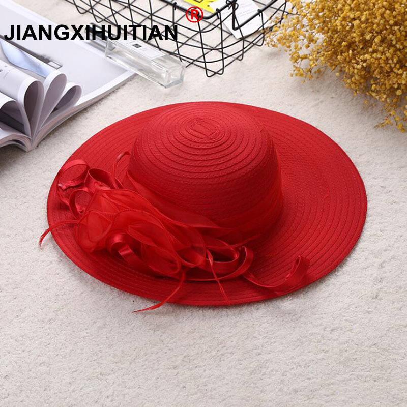 Women Sun Hat Satin Feather Summer Hat Women Solid Wide Brim UV Protection Sun Beach Cap Party Wedding Kentucky Derby Church Hat