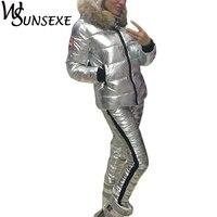 Winter Warm 2 Piece Sets Metal Silver Jacket Suits Women Fur Hooded Zipper Cotton Padded Coat