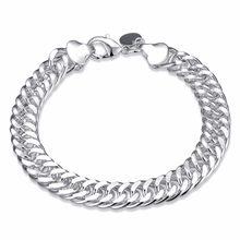 a7d3583ee7d6 10mm de ancho de los hombres joyería de plata 925 pulsera de cadena de  enlace de 8 pulgadas de plata esterlina brazalete de moda.