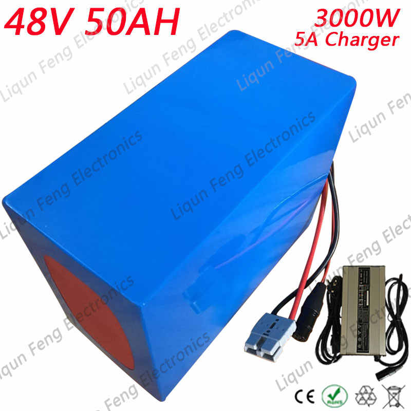 48V 50AH Big Capacity 3000W PVC cased Electric bike Lithium Battery 48V 50AH with 3.7V 5.0AH 26650 cell 50A BMS + 5A Charger