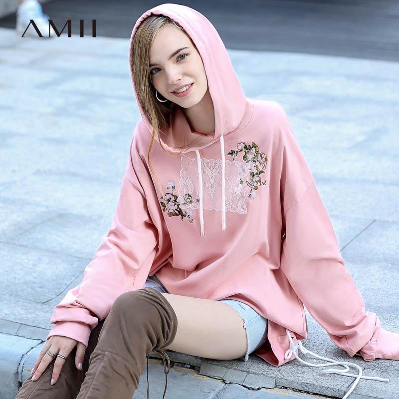 Pink Di Felpe Floreale Sweatshirt Oversize Autunno Squisito 100 Del Ricamo Stile 2019 Gusto Up Amii Sweatshirt green Lace Causali Pullover Cotone Lungo Donna BISn8qH6