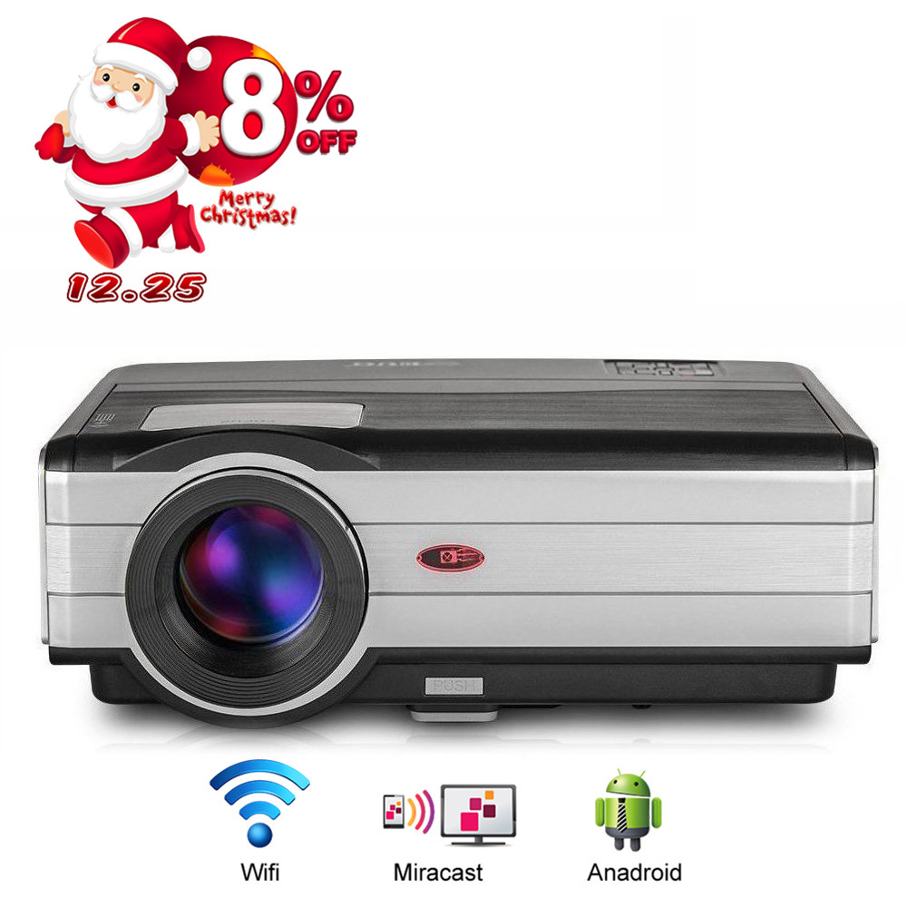 Home Theater Cinema LED Projector Full HD 1080p Android Wifi Wireless Movie Video HDMI USB Proyector Beamer TV Smartphone wzatco led96 tv projector full hd 1080p android 4 4 wifi smart rj45 3d home theater video proyector lcd projector beamer for ktv