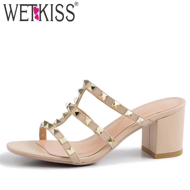 WETKISS Cow Leather Slippers Women 2019 New Slides Shoes Studded Slides Shoes Female High Heels Summer