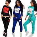 Fanala mujeres chándal 2 unids carta swearshirt hoodies mujeres y pantalones largos traje deportivo swearshirt sportwear traje primaveral set