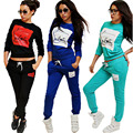 Fanala mulheres agasalho 2 pcs carta hoodies swearshirt mulheres e calças compridas terno ostentando swearshirt sportwear terno jogo mola