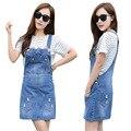 2016 Summer Loose Sweet Jeans Dress Women Washed Short Suspender Denim Sundress Denim Dress Blue S2091