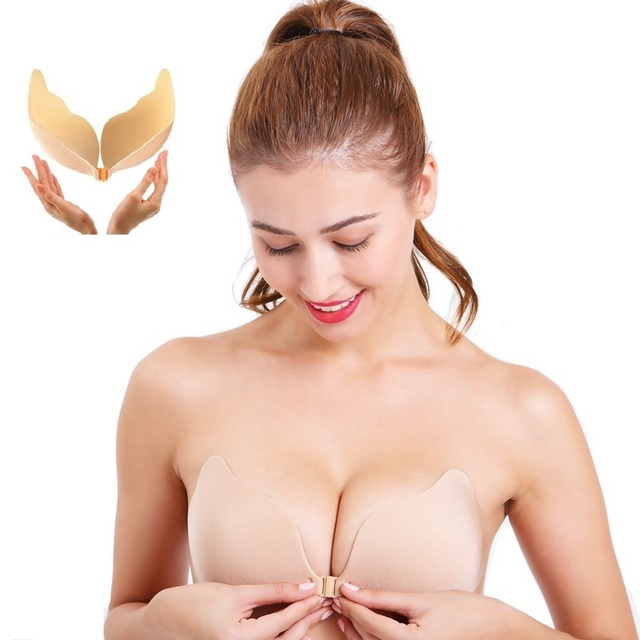 17ab2bf205 Women Push up Sexy Invisible Adhesive Gel Strapless Backless Bra Silicone  Bras nipple cover sticky Plus size Bra A B C D E F Cup