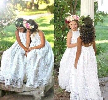 New Beach Boho Flower Girls Dresses For Weddings Full Lace Halter Sleeveless Backless Long First Communion Dress Any Size