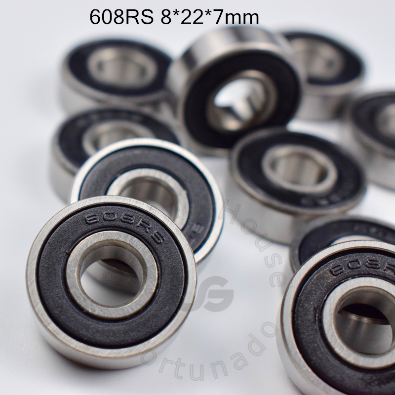 608 608RS 8*22*7(mm) 10pieces bearing free shipping ABEC-5 bearings 10pcs rubber Sealed Bearing 608 608RS chrome steel bearings image