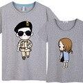 Moda Mujeres Hombres Parejas Descendientes Del Sol Fresco de La Camiseta Song Joong Ki Camiseta Amantes de la Camiseta de Corea de Manga Corta Lindo CP Tops