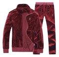 4XL Primavera Outono Inverno Aveludado Quente Casual Treino Conjunto dos homens sportswear zipper jaqueta + calça 2 pcs clothing set homens #151245