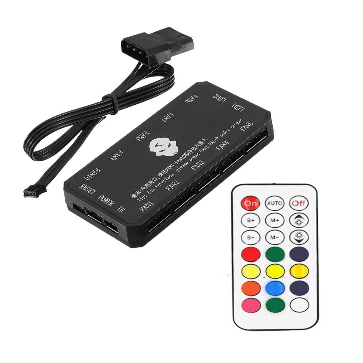 Дистанционное управление + вентилятор управление Лер RGB светодиодный свет 16 ключ чехол для компьютера RF Радио Частота вставлен 8 вентилято