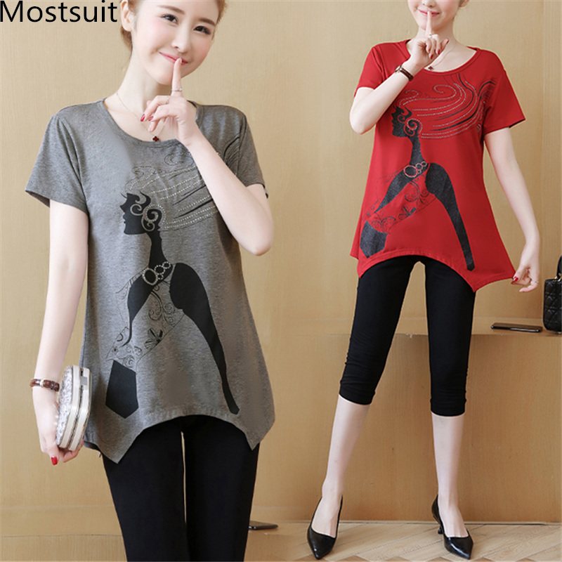 L-5xl Summer Casual Two Piece Sets Women Plus Size Short Sleeve Printed Beading Tshirts And Cropped Pants Sets Suits Femme 2019 45