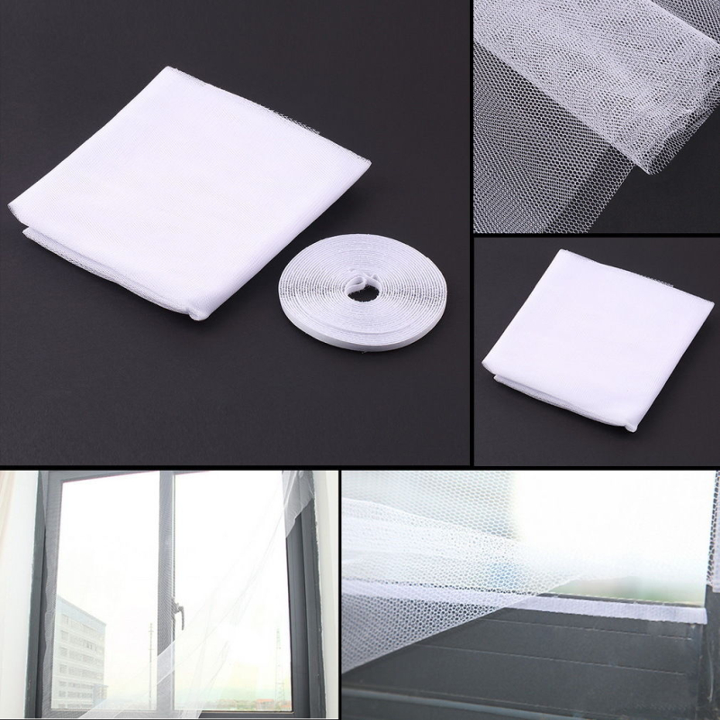 1Pc White Invisible Screens Kitchens Bedrooms Parlour Conservatories Window  Net With Velcro Tape