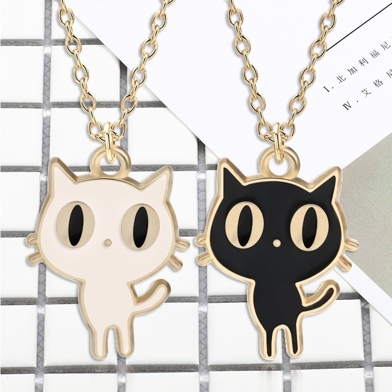 DIY Cartoon Fashion Animal Charm Pendant Kawaii Small Black White Cat Necklace Women 39 s Girl Gift Collar Jewelry Bijoux Femme in Pendant Necklaces from Jewelry amp Accessories