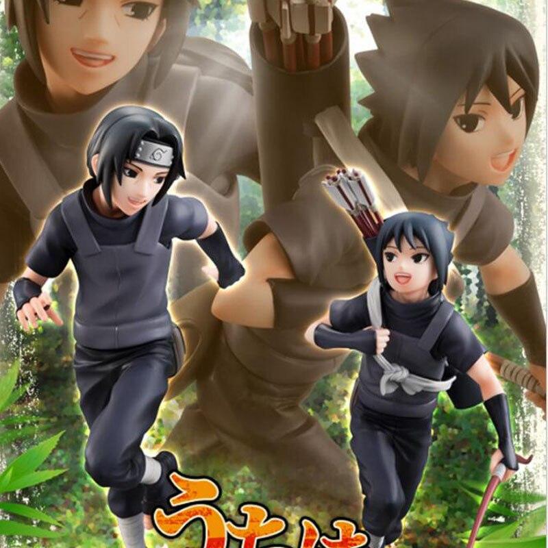 Anime Naruto Uchiha Itachi & Uchiha Sasuke Young Running Version Action Toy Figures Model Collection Toys