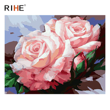 RIHE Pink Rose Diy Painting By Numbers Flower Oil Cuadros Decoracion Acrylic Paint On Canvas Modern Wall Art Home Decor