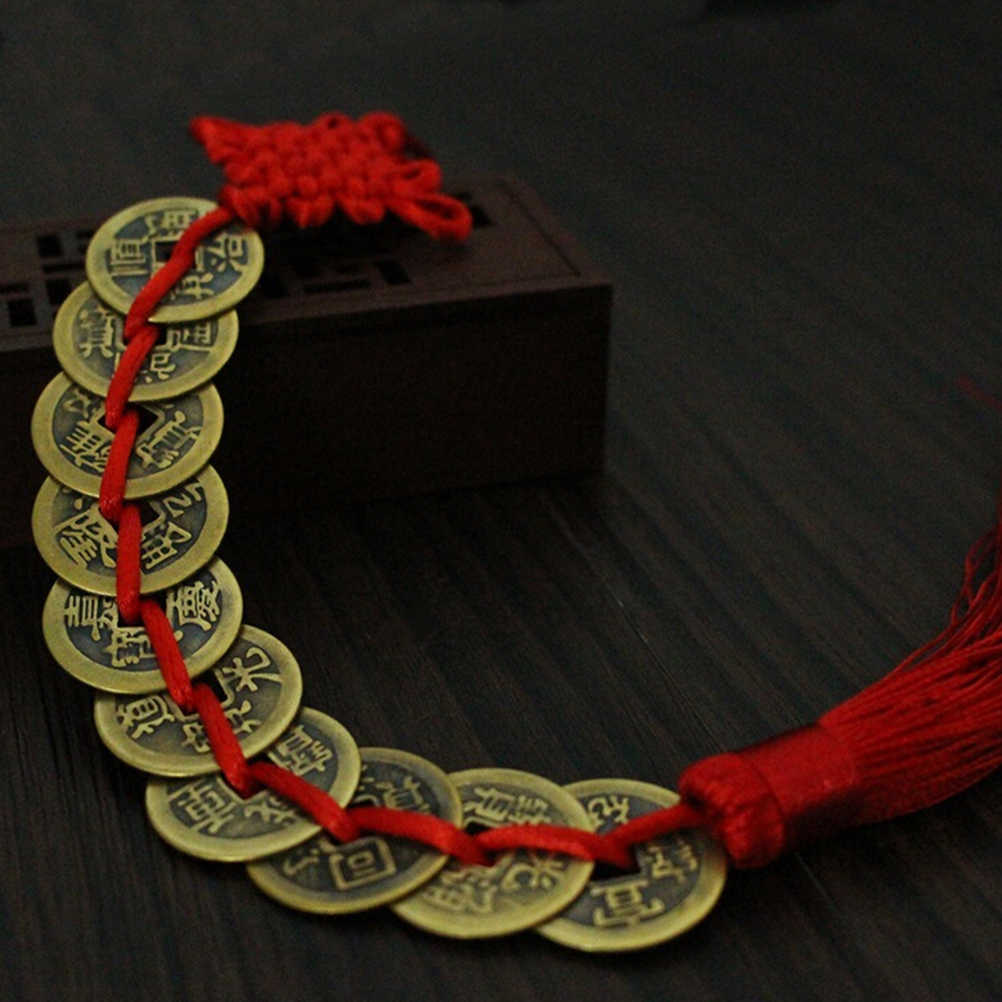 Success Lucky CoinsCharm Home Car Decoration Chinese Original Copper Ancien Red Chinese Knot Feng Shui Coin for Wealth