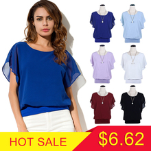 New Womens Tops Fashion 2018 Women Summer Chiffon Blouse Plus Size Ruffle Batwing Short Sleeve Casual Shirt Black White Red Blue