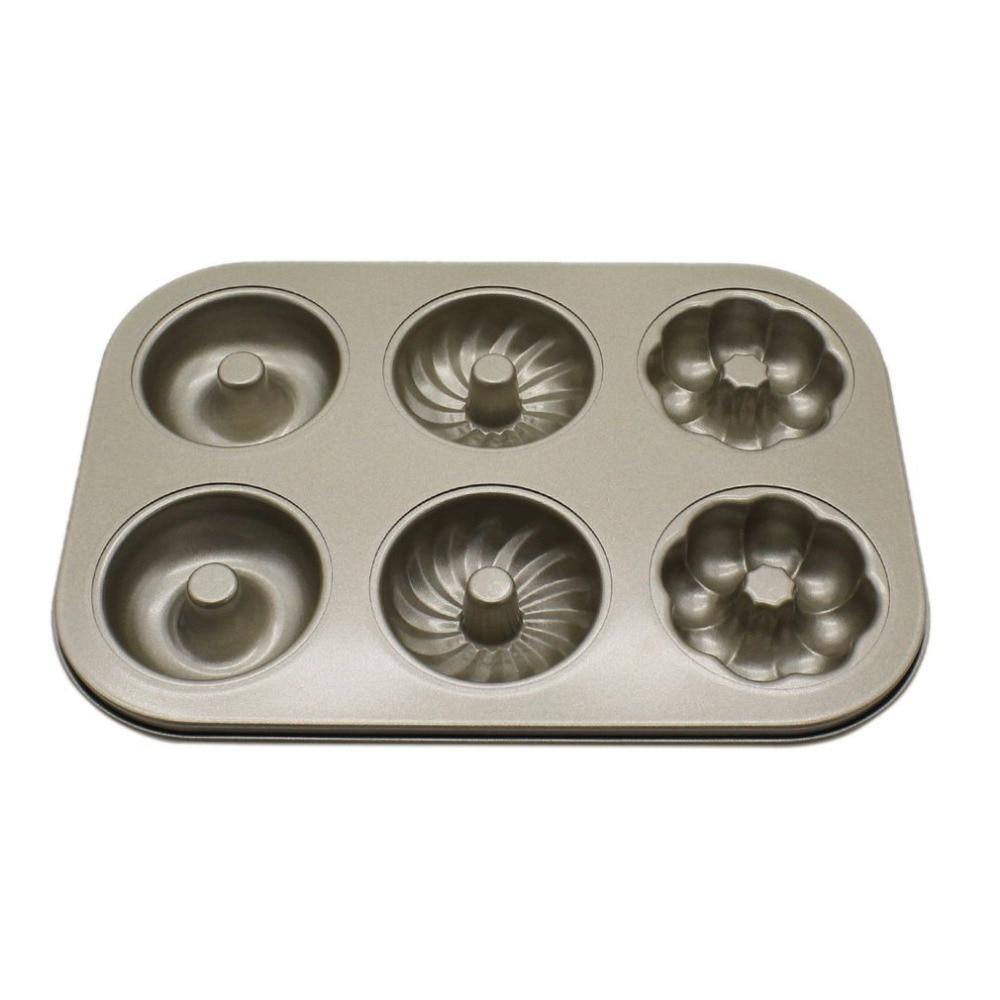 sixgrid hollow flower type baking pan diy tool carbon steel cake baking mold donuts