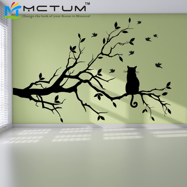 Modern Cat Tree Branch Wall Sticker Decals Birds Animal Poster Vinyl Art  Stickers PVC Home Decor