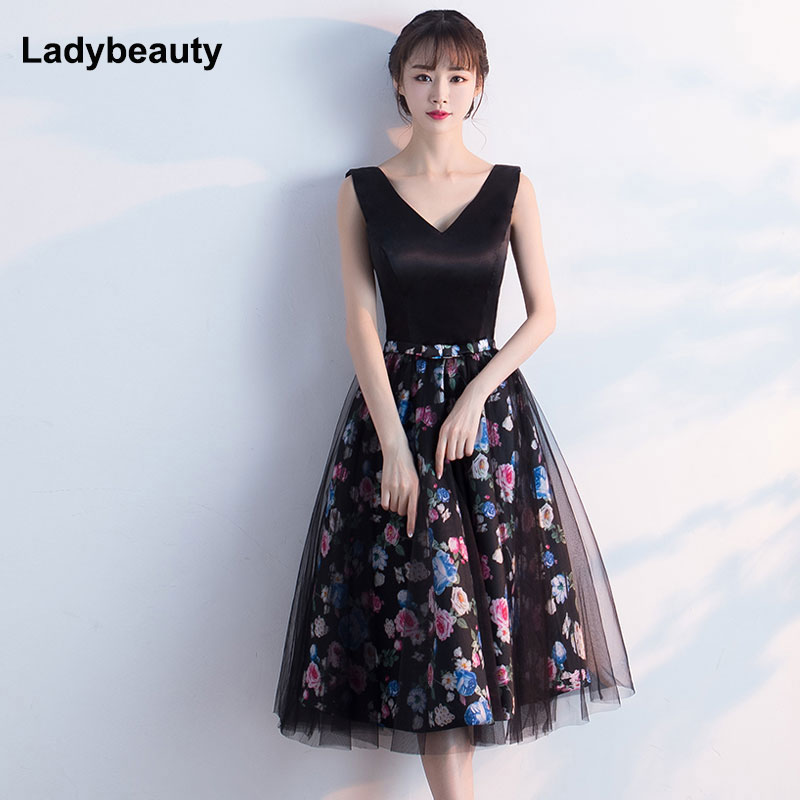 Ladybeauty 2018  New Arrival Sexy Backless Evening Dresses Printing Plus Size Robe De Roiree Elegant Party Short Evening Dress