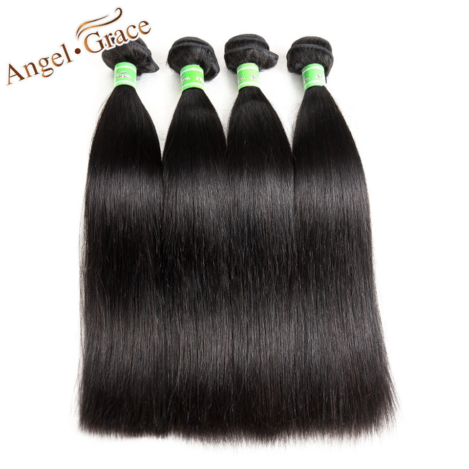 Angel Grace Hair Brazilian Straight Human Hair 4 Bundles Deals Brazilian Hair Weave Bundles Extensions 100% Remy Hair 8A Grade