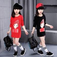 Fashion girl t-shirts 2016 spring long-sleeve cartoon print t-shirt girl casual sports long tee dress