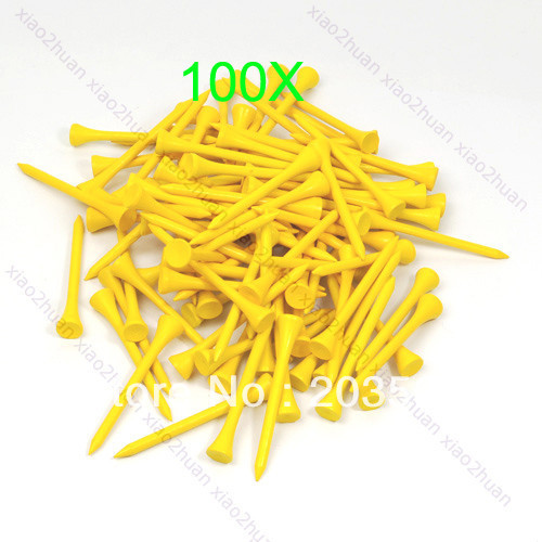 100pcs 70mm Brand New Golf Ball Wood Tee Tees  Yellow