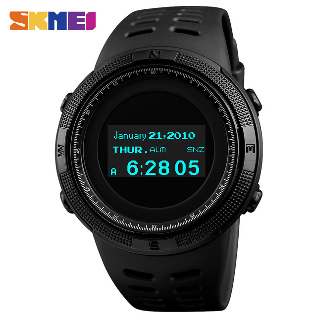 SKMEI Fashion Sport Watch Men Waterproof Calorie Steps Mileage Digital PU Strap