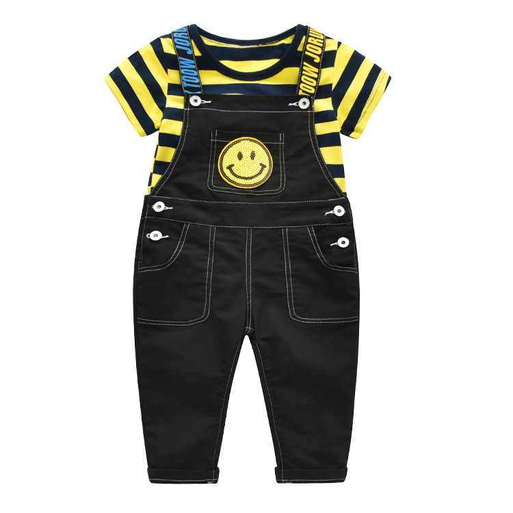 2Pieces Kids Clothing Set Summer Toddler Boys Clothing Sets Yellow Striped Short-sleeved T-shirt + Bib Pants 4 Year Boys Clothes цена
