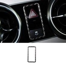 Углеродного волокна Предупреждение лампа Кнопка кадров декоративная крышка Накладка для Mercedes-Benz GLK X204 2008-2015 автомобиль аксессуары для интерьера