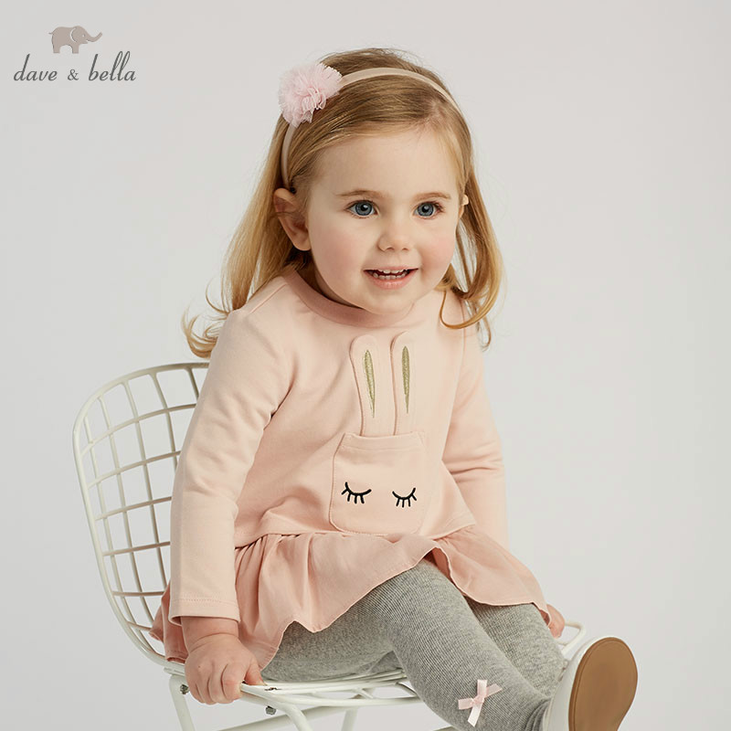 DB10161 dave bella baby girls Dress girls long sleeve spring dresses kids girls dress children birthday