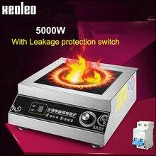 Xeoleo коммерческий индукционная плита 5000 Вт высокой мощности электромагнитных печь отель промышленные печи 6 огневой мощи Ресторан Плита
