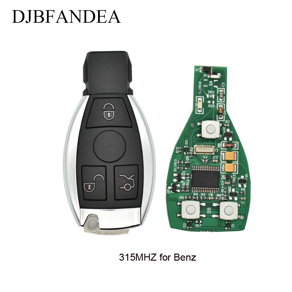 DJBFANDEA Remote Car Key Shell Replacement For Mercedes Benz year 2000+ NEC&BGA Control 315 Smart With Uncut Blade