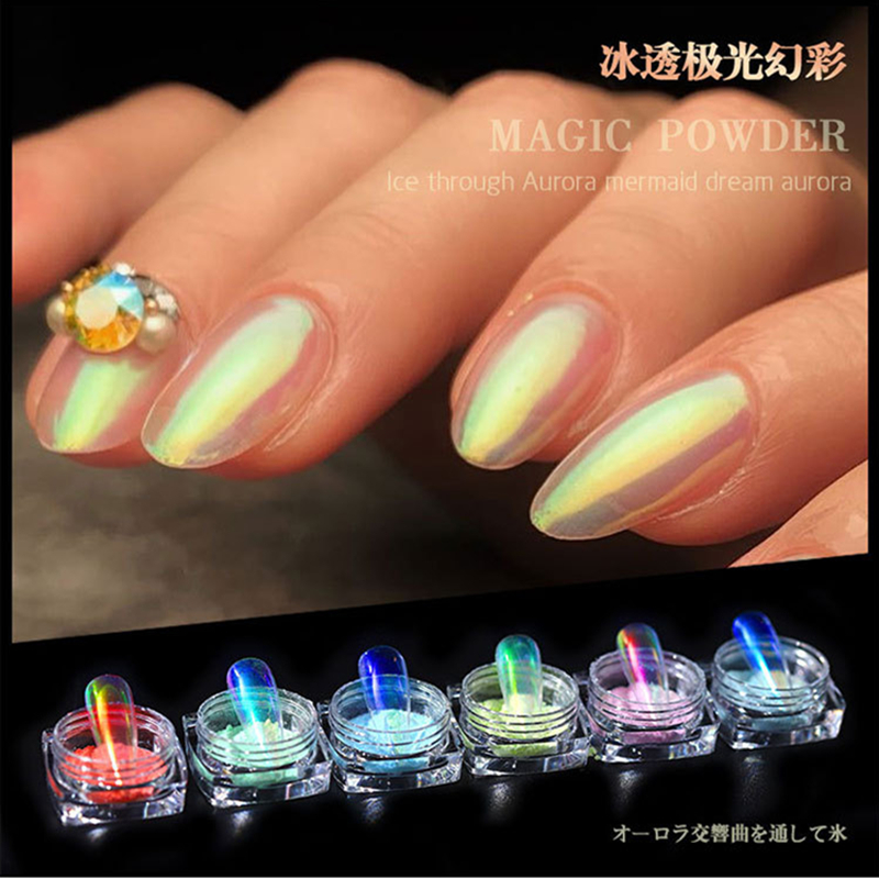0 2g box Ice mermaid Symphony Mirror Nail Glitter Powder Beautiful Rainbow Powder Neon Dust Nail Art Decorations in Nail Glitter from Beauty Health
