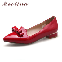 Meotina Women Flats Shoes Pointed Toe Patent Leather Bow Shoes Spring Yellow Ballet Flats Shoes Ladies Black Red White Size 9 10