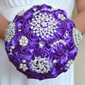 New Purple Swarovski Pearls Crystal Wedding Bouquets Artificial Silk Rose Brooch Flowers Bridal Bouquets Ramos De Novia 2016