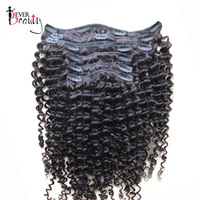 Clip In Human Hair Extensions 7Pcs/120G Brazilian Kinky Curly Remy Hair Full Head Clip In 100% Human Natural Hair Ever Beauty