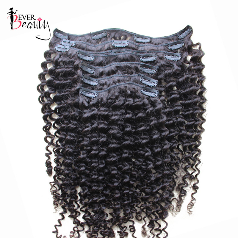 Clip In Human Hair Extensions 7Pcs/120G Brazilian Kinky Curly Remy Hair Full Head Clip I ...