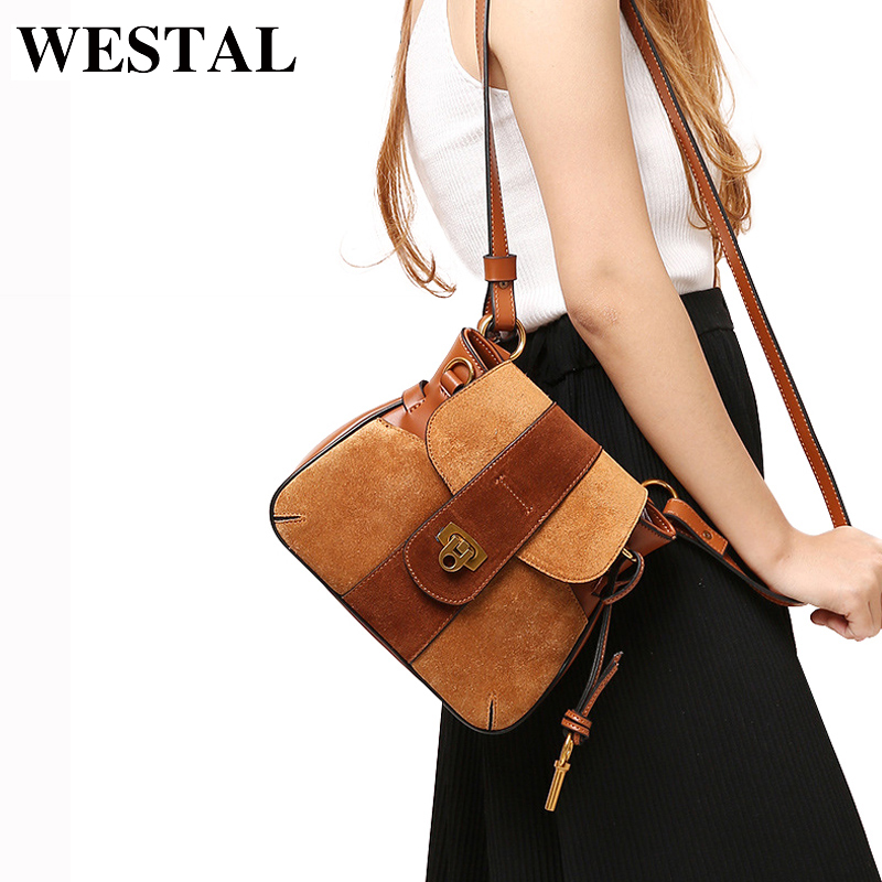 WESATL Split Leather Women Bag Vintage Crossbody Bags Women Messenger Bags Retro Leather Shoulder Bag Small Bolsa Feminina fashion matte retro women bags cow split leather bags women shoulder bag chain messenger bags