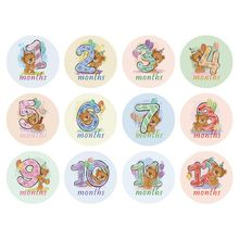 Premium Month Sticker Baby Photography Milestone Memorial Monthly Newborn Kids Commemorative Card Number Photo Props 12 Pcs/set