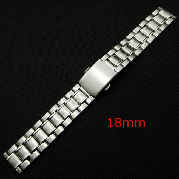 18mm Silver Stainless Steel Watch Band Strap Replacement Bracelet Folding Clasp with Safety for Men Women 18mm silver stainless steel watch band strap replacement bracelet folding clasp with safety for men women