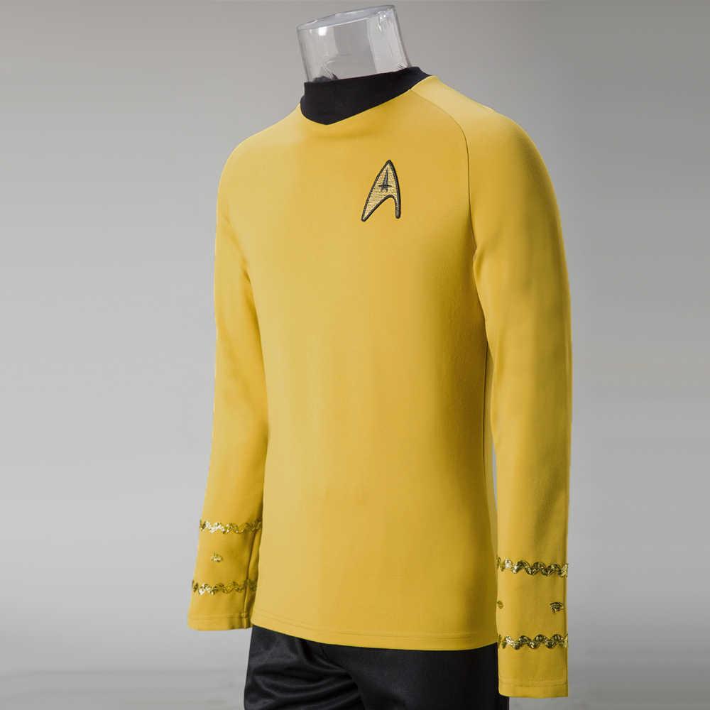 Косплей звезды TOS оригинальная серия трек Керк рубашка костюм на Хеллоуин желтый костюм