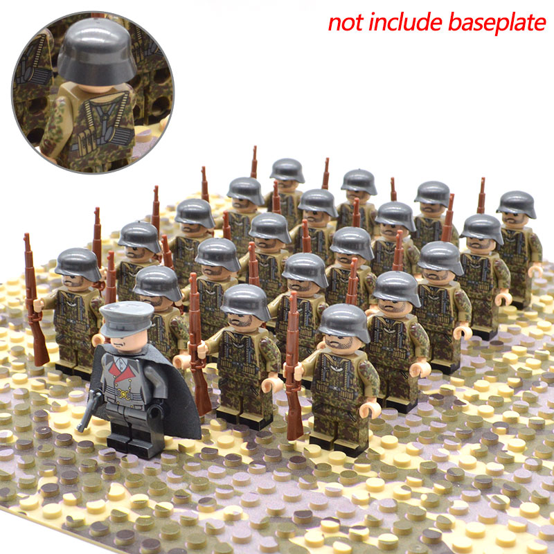 21pcs/set WW2 DE Army Troops Military Soldiers And Officer Kar 98k Camouflage Building Blocks Brick Toys For Kids