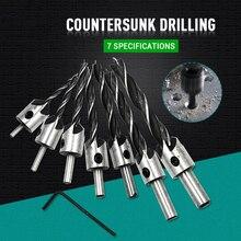 3-10mm Three-Points Countersunk Head Pilot Drill High Speed Steel Reaming Orientation Drills Bit Woodwork Chamfering Cutter