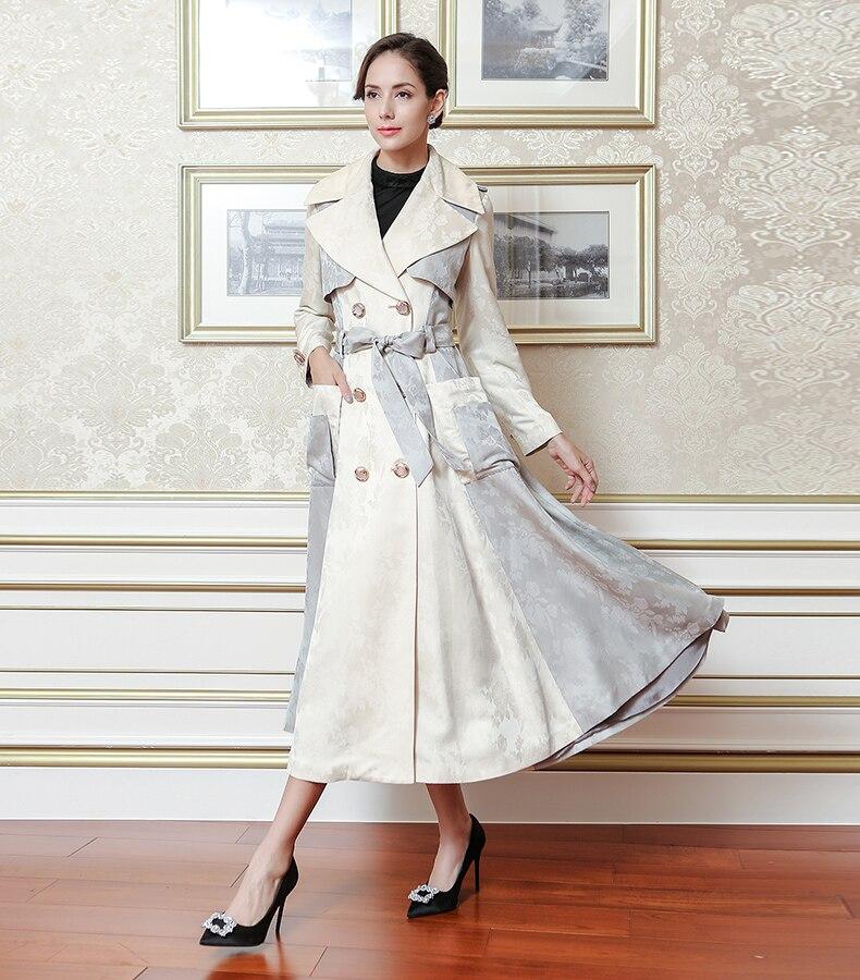 Femmes Double Beige Manteau Qualité Soie D'automne Flx00801 Taille Supérieure De Classique Voa Breasted Élégant Trench Grande Luxe Ceinture coat ZXuPOki
