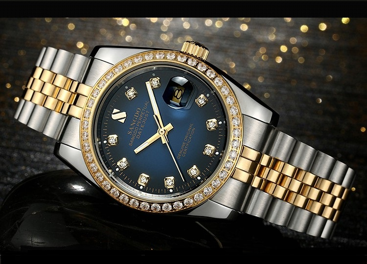 38MM SANGDO men's watch  Automatic Self-Wind movement  High quality Luxury Mechanical watches 326CCC original binger mans automatic mechanical wrist watch date display watch self wind steel with gold wheel watches new luxury