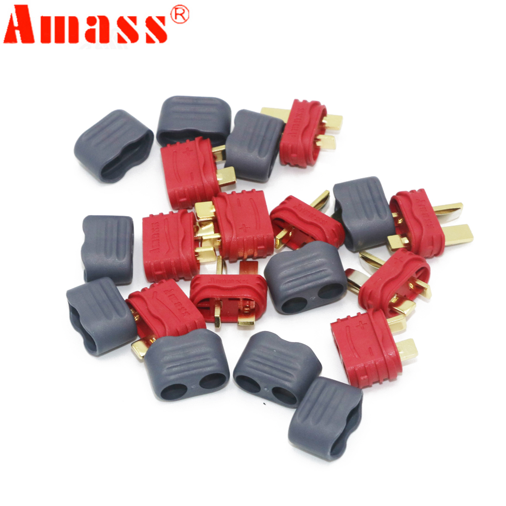 50pair/lot Amass T Plug Deans Connector With Sheath Housing For RC Lipo Battery hot new deans style xt plug nylon t connector golden grip slip t plug anti skid for rc esc battery
